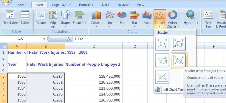 how to make a scatter chart in excel 2007