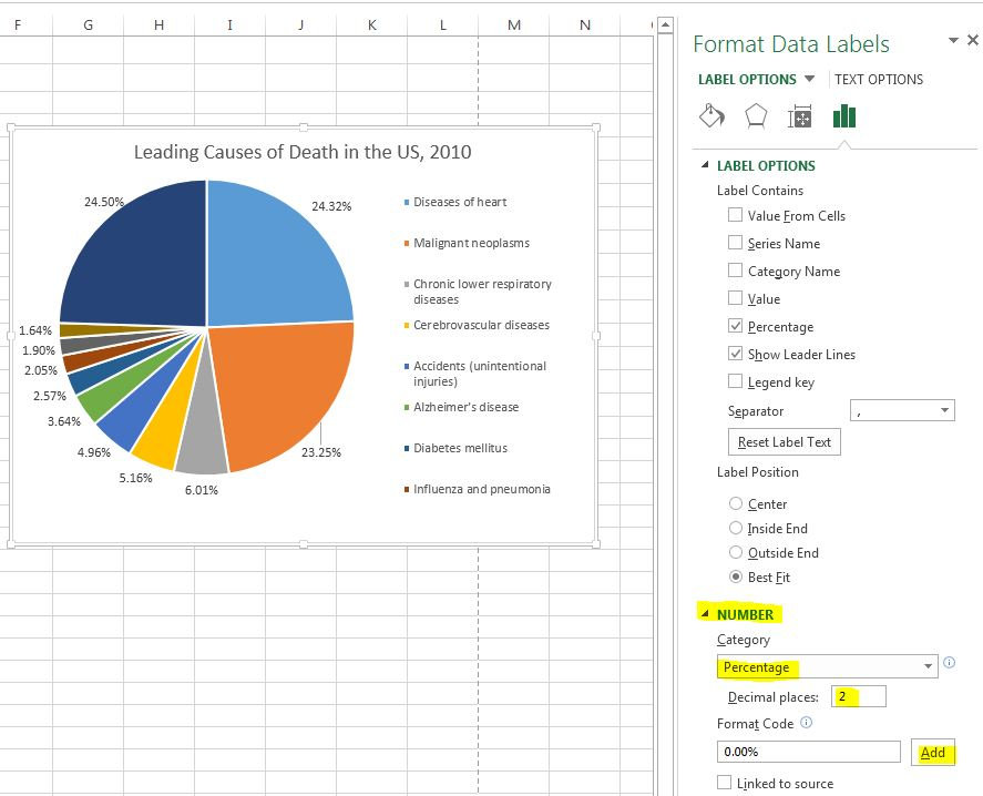 how to change decimal places on excel graph axis