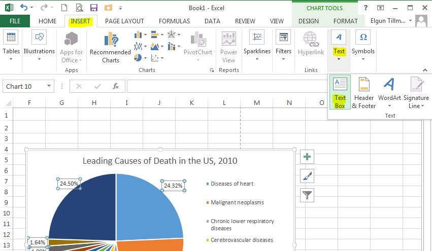 how to make a text box in excel